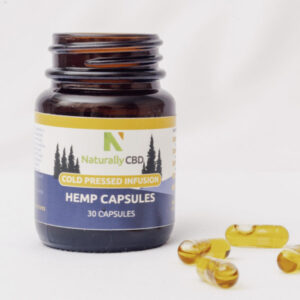 Bottle of 30 NaturallyCBD Cold Pressed Hemp CBD Capsules - 10mg CBD per Capsule