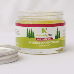Jar of NaturallyCBD All Natural Hand Cream. Contains 500mg CBD