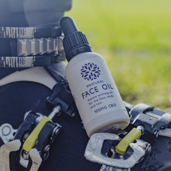 30ml Bottle of Bnatural Face Oil on ski boot. Contains 100mg CBD
